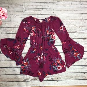 Band of Gypsies Floral Bell Sleeved Short Romper